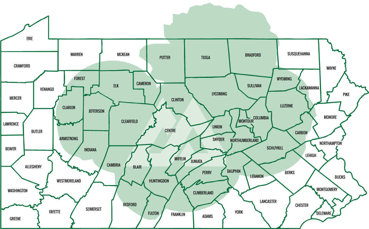Radio Coverage Area for 7 Mountains Media